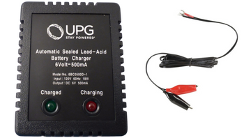 6 Volt 500mA Automatic Battery Charger with Charge Status - Alligator Clips | Battery Specialist Canada