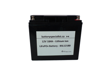 Lithium Ion Battery - 12V 18Ah - With Protective Circuit Board - BSL12180 | Battery Specialist Canada