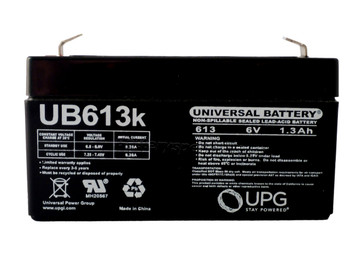 6 Volts 1.3Ah -Terminal F1 - SLA/AGM Battery - UB613 Front| batteryspecialist.ca