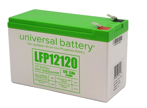 LFP12120 - 12.8V 12Ah LiFePO4 Lithium Battery Angle   batteryspecialist.ca