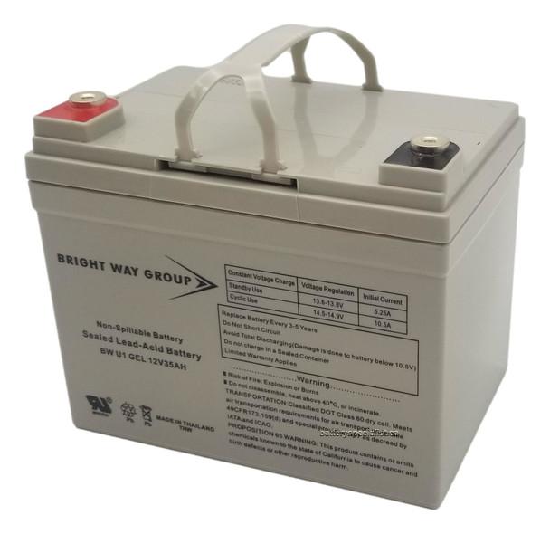 BW U1 Gel Brightway Group Battery - Terminal Internal Threads - 12V 35Ah | Battery Specialist Canada