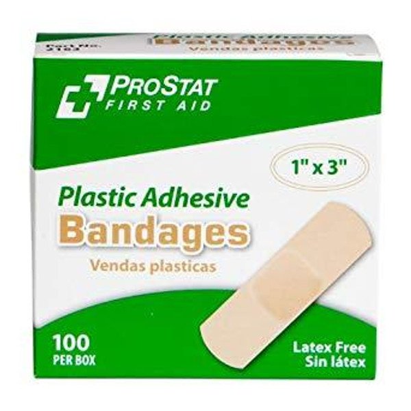 "1"" x 3"" Plastic Adhesive Bandages, 100 Per Box"