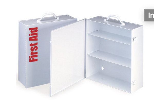 Empty Metal Industrial Cabinet Swing Out Door - 3 Shelf