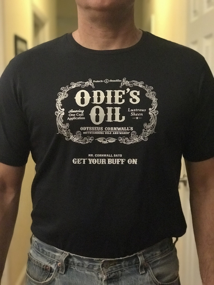 Odie's Buff Off T-shirt Navy front