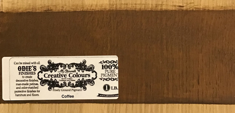 This was done  by mixing 1 part Odie's Oil to 2 parts Safer Solvent and then adding in some of the pigment. This was applied to white oak, sanded to 220 grit. This is one coat, with the application process being the same as with all Odie's products. Results will vary.