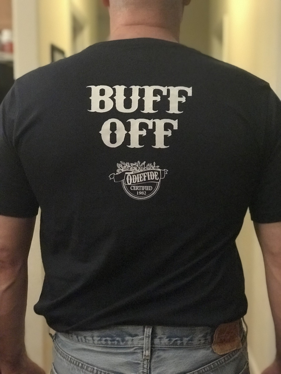 Odie's Buff Off T-shirt Navy back
