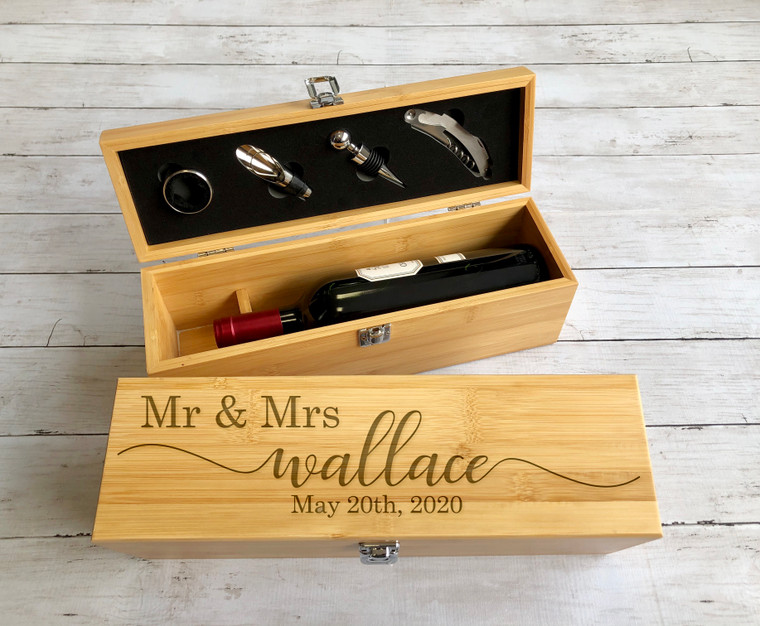 Engraved Wine Box with Tools