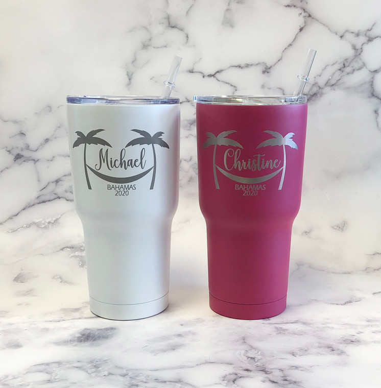 Personalized Tumblers Palm Trees Vacation