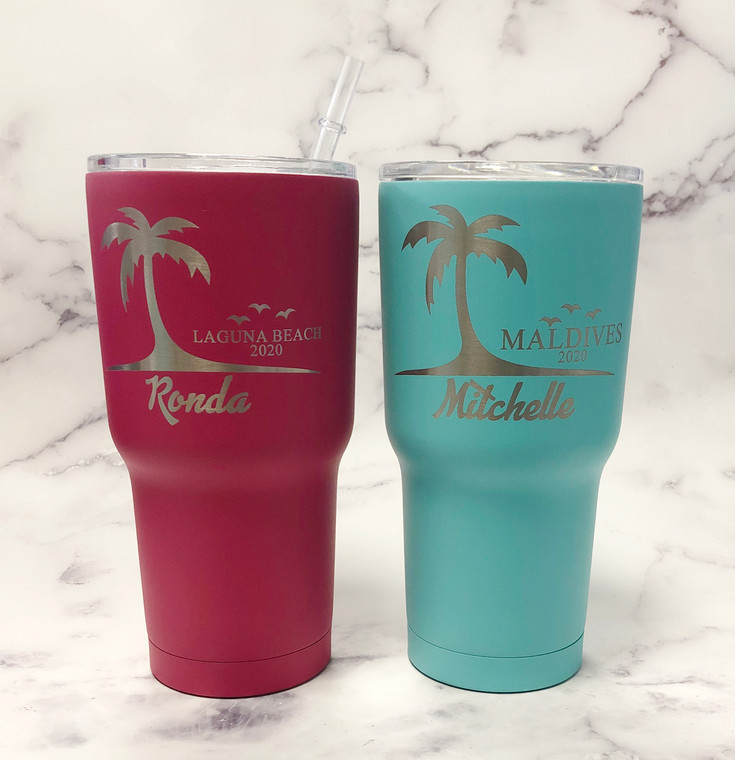 Engraved Tumblers Palm Trees Vacation