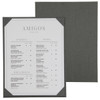 Linen One Panel Menu Board in Pewter with album style diploma corners