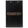Baltic Birch Wood Menu Clipboard 5.5 x 8.5 back view shown in black finish with laser engraved logo.