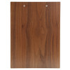 Back view of walnut menu board with clip.