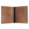 Riveted Baltic Birch Wood Screw Post Menu Cover Interior in walnut stain with engraved logo.
