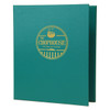 Summit Linen Three Ring Binder in teal with a gold foil stamp.