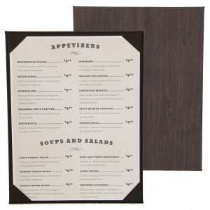 Wood Look Menu Board with Corners or Strips
