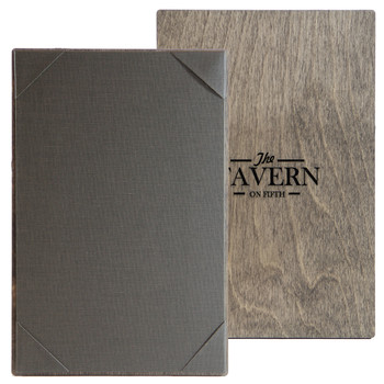 """Baltic Birch One View Menu Board 5.5"""" x 8.5"""" shown in driftwood finish with linen pewter interior panel and laser engraved logo."""