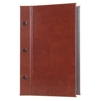 Bonded Leather Chicago Menu Board in British Tan with Black Linen Interior and Black Screws