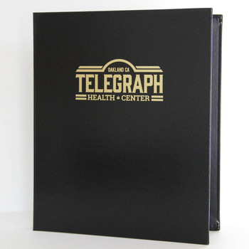 "Bonded Leather Three Ring Binder shown in 8.5"" x 11"" size"