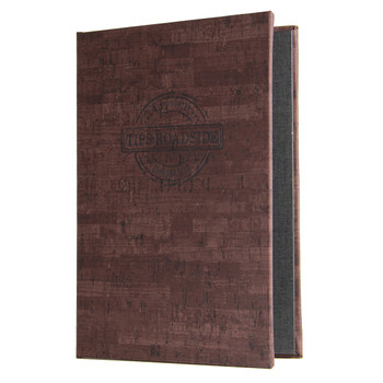 Cork Look Screw Post Menu Cover in cocoa with burnished logo.