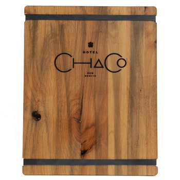 Stained Alder Wood Menu Board has alder distressed finish and engraved color filled logo.