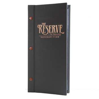 Carnegie Chicago Menu Board in charcoal with bronze foil stamp and bronze screws
