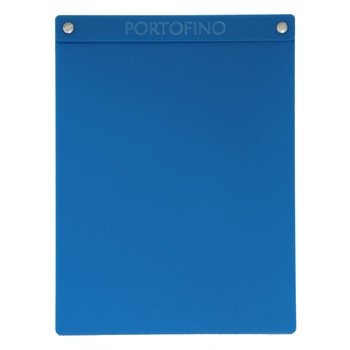 "Acrylic Menu Board with Screws 8.5"" x 11"" in Light Blue with laser engraved logo."