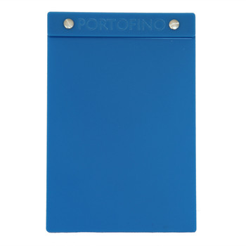 """Acrylic Menu Board with Screws 5.5"""" x 8.5"""" in Light Blue with laser engraved logo."""