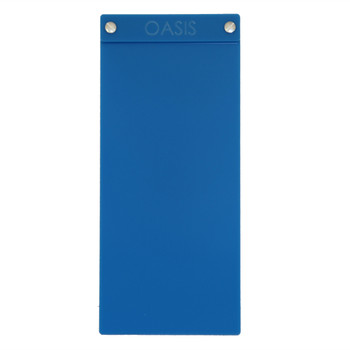 "Acrylic Menu Board with Screws 4.25"" x 11"" in Light Blue with laser engraved logo."