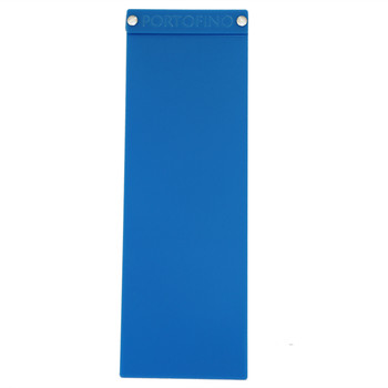 "Acrylic Menu Board with Screws 4.25"" x 14"" in Light Blue with laser engraved logo."