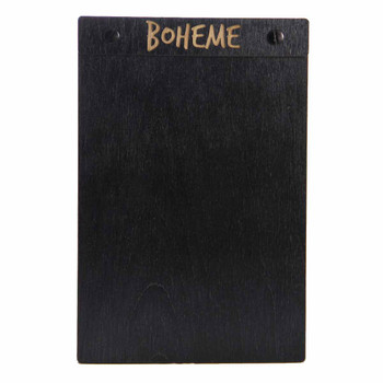 "Baltic Birch Wood Menu Board with Screws 5.5"" x 8.5"" in black stain with black screws"