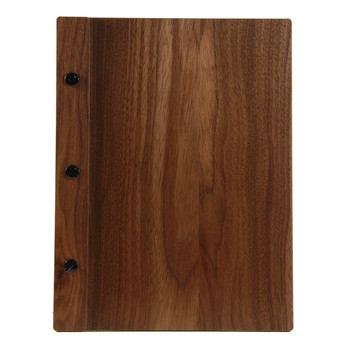 Solid walnut wood menu board with vertical spine and black screws.  Size shown is 5.5 x 8.5.