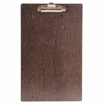 Baltic Birch Wood Menu Clipboard 5.5 x 8.5 shown in espresso finish