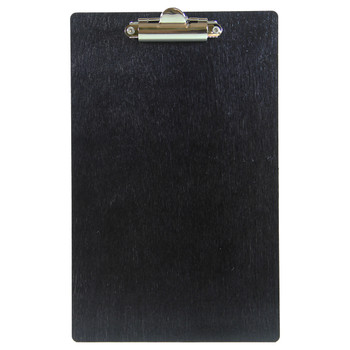 Baltic Birch Wood Menu Clipboard 5.5 x 8.5 front view shown in black finish.