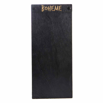 "Baltic Birch Wood Menu Board with Screws 4.25"" x 11"" in black stain with black screws"
