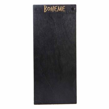 "Baltic Birch Wood Menu Board with Screws 4.25"" x 11"" in black stain with black screws"