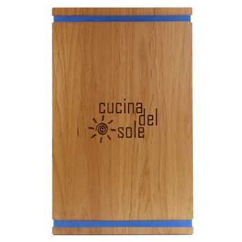 Solid Alder Wood Menu Board with Bands 8.5 x 14 with blue bands and laser engraved logo