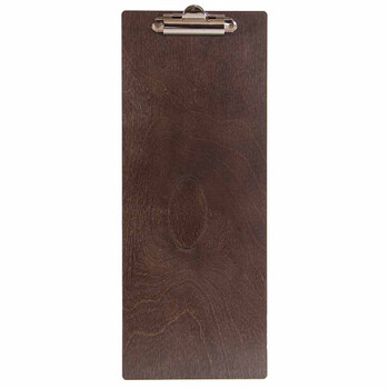 Baltic Birch Wood Menu Clipboard 4.25 x 11 shown in espresso finish
