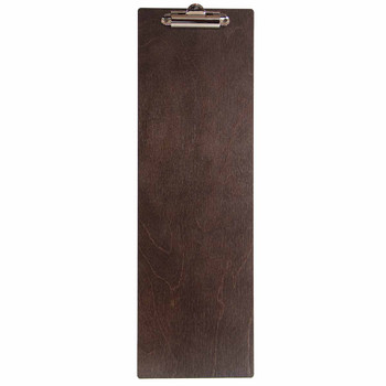 Baltic Birch Wood Menu Clipboard 4.25 x 14 shown in espresso finish