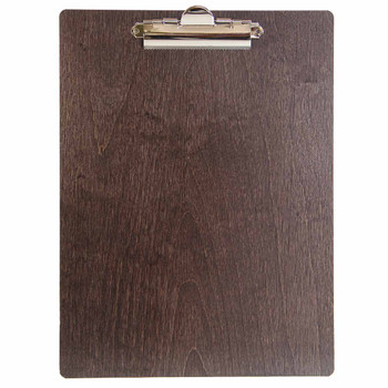 Baltic Birch Wood Menu Clipboard 8.5 x 11 shown in espresso finish