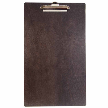 Baltic Birch Wood Menu Clipboard 8.5 x 14 shown in espresso finish