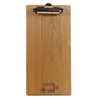 Alder wood check presenter with clip and laser engraved logo.
