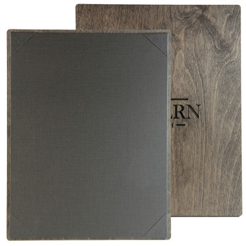 """Baltic Birch One View Menu Board 8.5"""" x 11"""" shown in driftwood finish with linen pewter interior panel and laser engraved logo."""