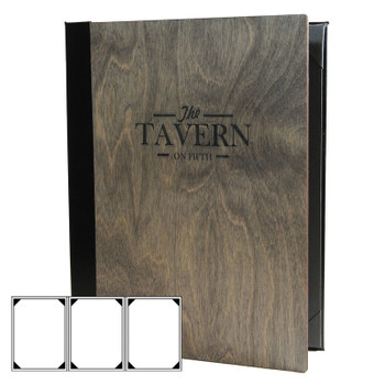 Baltic Birch Three View Menu Cover shown in driftwood finish with laser engraved logo.
