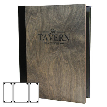 Baltic Birch Three View Gatefold Menu Cover shown in driftwood finish with laser engraved logo.