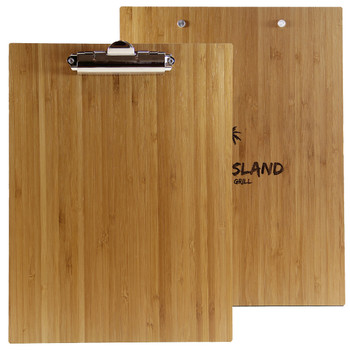Bamboo Menu Board with Clip Front and Back Views