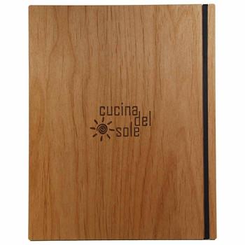Solid Alder Wood Menu Board with Black Vertical Band and laser engraved logo