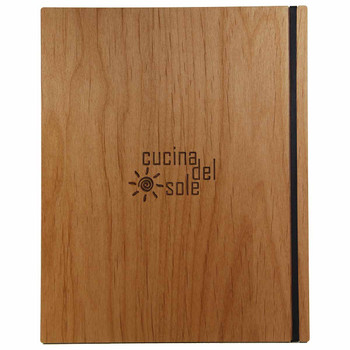 Solid Alder Wood Menu Board 8.5 x 11 with Black Vertical Band and laser engraved logo