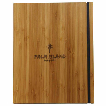 Bamboo Menu Board 8.5 x 11 with Vertical Band and laser engraved logo