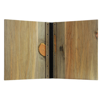 Riveted Blue Pine Wood Screw Post Menu Cover Interior