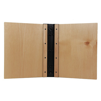 Interior of Riveted Alder Wood Three Ring Binder 5.5 x 8.5